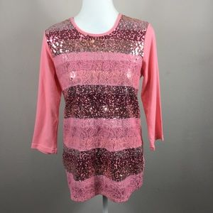Quacker Factory Pink Sequin NWT Blouse Size Small